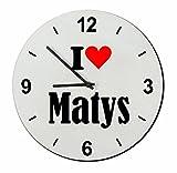 Exclusif Idée Cadeau: Verre Montre 'I Love Matys' un Excellent cadeau vient du Coeur- Regarder- Ø20 cm- Idées cadeaux de Noël