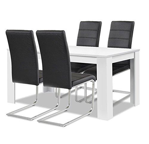 agionda® Esstisch + Stuhlset : 1 x Esstisch Toledo Weiss 140 x 90 + 4 Freischwinger schwarz - 1 Raum Schwarz Stahl