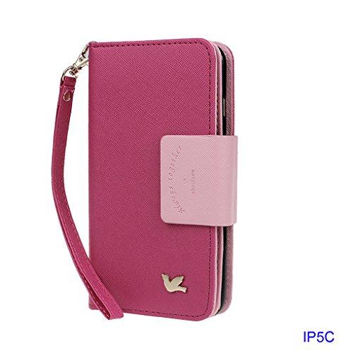 Xhorizon TM MSH housse étui portefeuille pour iPhone 5C en PU cuir avec coque de protection magnétique détachable et emplacements pour cartes Multiple Card Slots Folio Case Wallet pour iPhone 5C(rose) rose