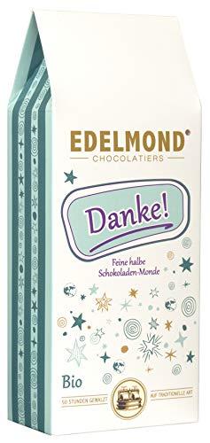 """Edelmond \""""Danke\"""" - Bio Schokoladen-Drops. Frucht und Milchschokolade als Geschenk Idee. Das Dankeschön für Frauen und Männer. Ohne Emulgatoren oder Farbstoffe in der 125 gr. Box"""