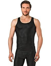 Latex ähnliches Herren Unterhemd - Vinyl -Wetlock Unterhemd ohne Arm - schwarz