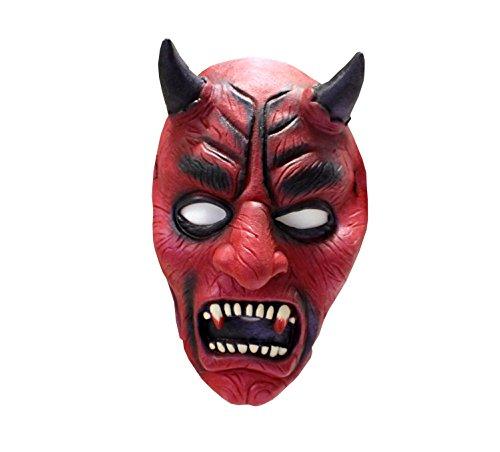 Teufel, für Erwachsene, Universalgröße, Unisex, Latexmaske, Teufelsmaske, Satansmaske, Gruselparty, Mottoshow, Themenabend, Kostümzubehör, Karnevalskostüm, Verkleidung, Gruselkabinett, Maske, Horror (Erschreckend Alt Halloween Kostüme)