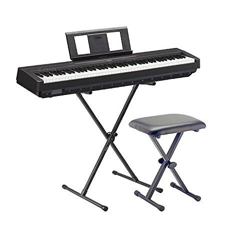 Yamaha E de Piano P45BK Noir SET2avec support et
