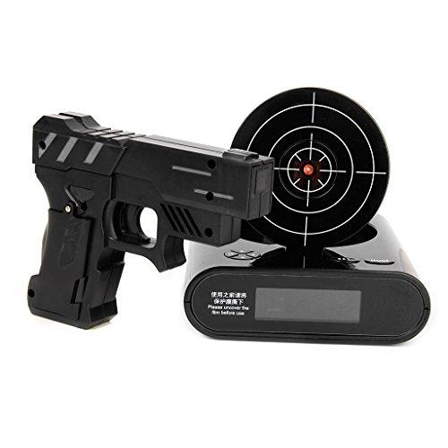 Gazechimp LCD Digitalwecker Alarm Clock Infrarot Wecker mit Zielscheibe Pistole