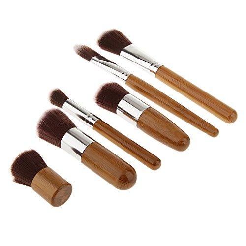 Set 6pcs Pinceau de Maquillage Pour Le Visage Professionnel Poignée en Bambou