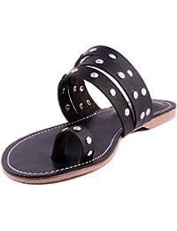 Black Studded Strap Ladies Slippers |Flats | Ladies Slippers |Girls Slippers