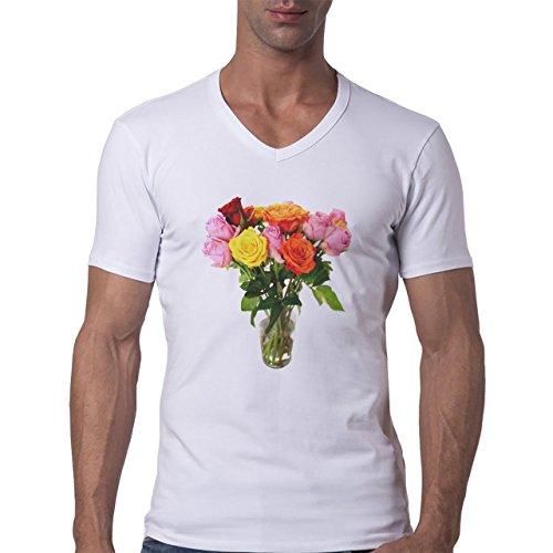 Flowers Nature Blossom Plant Vase Herren V-Neck T-Shirt Weiß