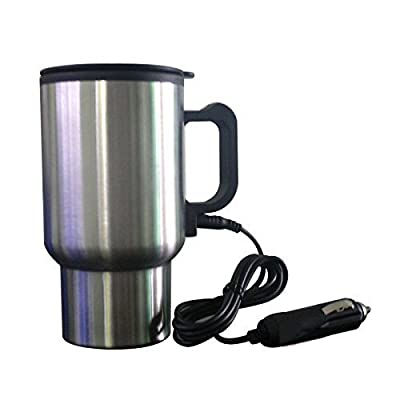 GosFrid Steel Travel Outdoor Electric Mug 12V Car Charging Electric Kettle Stainless Steel Travel Coffee Mug Cup Heated Thermos 450Ml