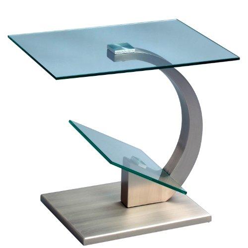 HomeTrends4You 531188 Beistelltisch Divina, Metall Edelstahloptik, Deckplatte und Zeitungsablage Sicherheitsglas klar, 48x38cm, Höhe 46cm