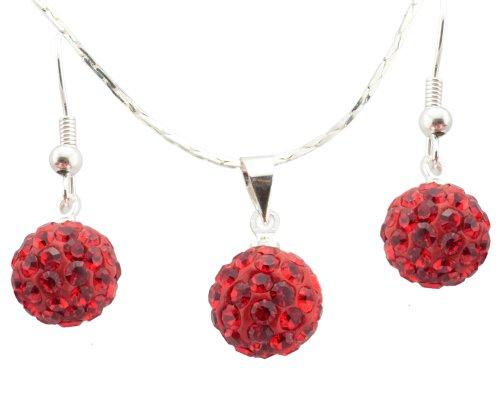 Rot Swarovski Element Kristall Stud Ohrringe und Halskette Set in Geschenk Box! Wählen Ihre Farbe - 10mm Ohrringe Kristall Kugel und 10mm Kristall Kugel Halskette - über 100 Kristall für jeweils Ball (Kugeln Kristall-box)
