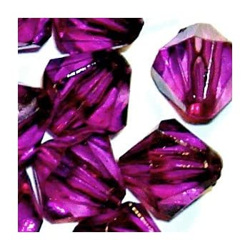 25g of 4mm Amethyst Acrylic Plastic Faceted Bicone Beads A5242