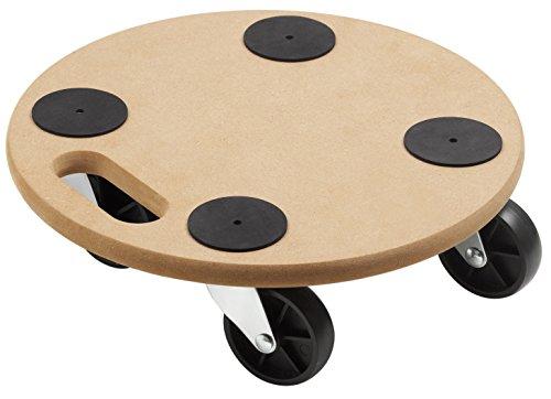 Meister Transportroller Ø 350 mm ✓ 150 kg Tragkraft ✓ MDF-Platte ✓ PP-Räder | Pflanzenroller | Blumenroller | Untersetzer mit Rollen | Möbelroller | Transporthilfe für Umzug | 821350
