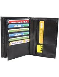 Frédéric&Johns® - Grand portefeuille très pratique avec 4 volets - 20 emplacements pour cartes - Papier voiture et identité -synthétique souple de qualité - homme ou femme - (Noir)