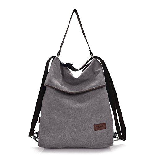 Gindoly Canvas Tasche Damen Rucksack Handtasche Damen Vintage Umhängentasche Anti Diebstahl Tasche Hobo Tasche für Alltag Büro Schule Ausflug Einkauf grau