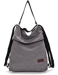 Gindoly Damen Handtasche Schultertasche Bohnenpaste Vintage Canvas Damen Schultertasche Retro Rucksack Multifunktionale Tasche für Arbeit, Schule und Lässige täglich