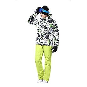 Formulaone Skianzug Set, Schnee Professionelle Ski Anzüge Erwachsene, Wild Ski Jacke Herren, Outdoor Windproof Ski Hosen Für Männer Schwarz Grün XL