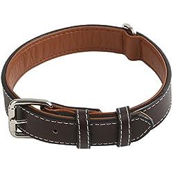 Vivifying Collar de piel auténtica para perro, duradero y cómodo, ajustable entre 36,3 y 46,7 cm, de color marrón oscuro