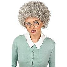 Damen Mädchen Perücke für Kostüm OMA GROßMUTTER Tante grau mit Dutt Karneval