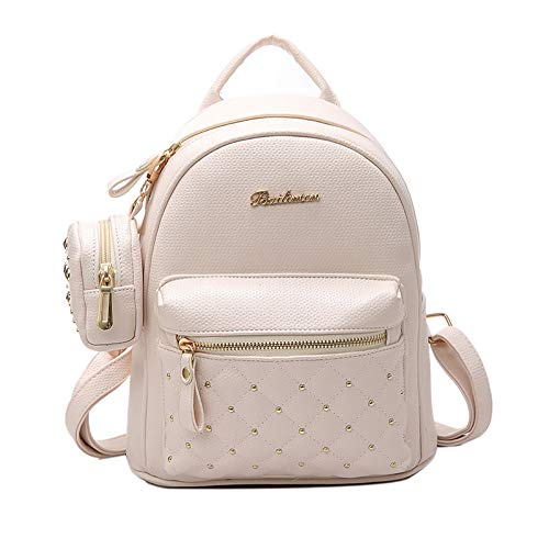 Bagkeena Damen-Rucksack aus PU-Leder für die Schule, klein, Damen, beige