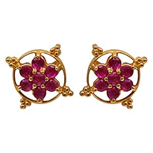 Joyalukkas Ratna Collections 22k (916) Yellow Gold and Ruby Stud Earrings