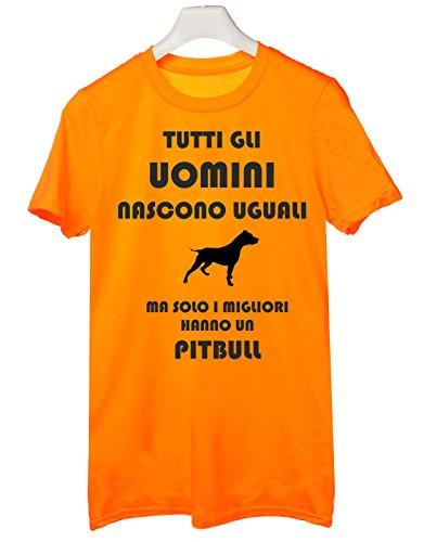 Tshirt Tutti gli uomini nascono uguali ma solo i migliori hanno un pitbull - cani - dog - humor - Tutte le taglie Arancione
