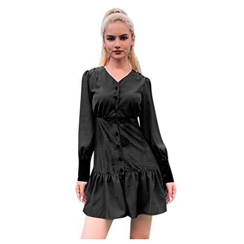 Floweworld Damen Freizeitkleider Wintermode Langarm einfarbig Samt Splice Rüschen Minikleider Button-down V-Ausschnitt Slim-Fit Partykleider