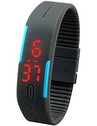 Kolylong® Ultra mince montre sport Hommes Femmes Sports Silicone Digital LED Sports Montre bracelet (Noir)