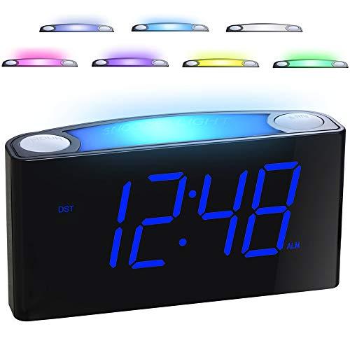 """Digitaler Wecker, 7 Farbige Nachtlichter, 7\"""" LED-Display, Dimmer, 2 USB-Anschlüsse, 12/24 Stunden, Große Snooze, Lauter Alarm, Einfach Einzustellen für Senioren, Kinder, Starke Schläfer, Schlafzimmer"""