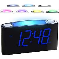 """Reloj Despertador Digital, 7 Luces nocturnas de Colores, 7""""Pantalla LED y Atenuador de Luz, 2 Puertos USB, 12/24 H, Baterías Batería, Fácil de Configurar para Mayores, Niños, Mesa, Dormitorio, Cocina"""