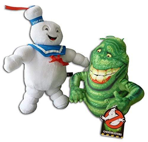 Marshmallow Mann 35cm und Slimer 25cm Packung 2x Plüschtiere Plüsch Kuscheltiere Ghostbusters 3 Geisterjäger Film Marshmallow-Monster Man Original Stofftier Seemann Weiß Figuren Serie Fantasy Komödie