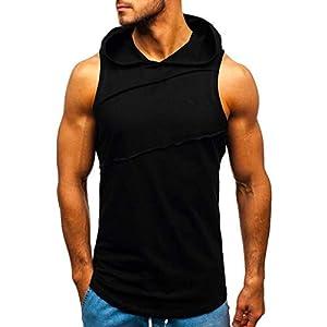 JIAWEIDAMAI Männer Hooded Striped Spleißen Weste Sommer Sleeveless Sport Hoodie Tops Bodybuilding Singlet Fitness…