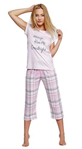 SENSIS eleganter Baumwoll-Pyjama Schlafanzug Hausanzug aus stillvollem T-Schirt und Capri-Hose, rosa, Gr. L (40) (Capri-pyjama-hose)