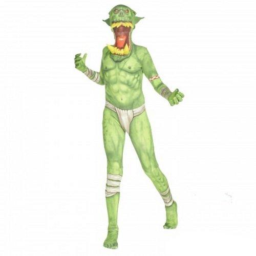 Kostüm Ork Kinder - Grüner Ork Klapp-Kiefer Kinder Monster Morphsuit Faschingskostüm - size Large 4'1-4'6 (123cm-137cm)