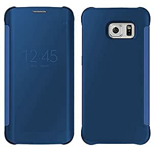 Etui flip cover transparent samsung galaxy s6 edge bleu - Dreamshop75 -