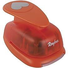 Rayher–Motivo Corazón Perforadora, plástico, Naranja, ø 5cm (2'')