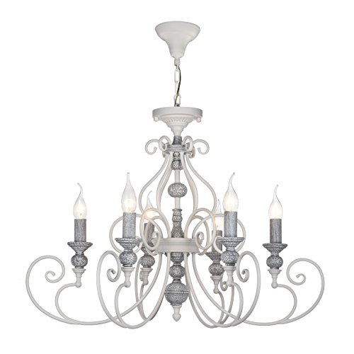 Eleganter Kronleuchter, weiß-graues Metall, Kurzbarer Pendel, Kerzenhalter, exkl. E14 6x60W, 220-240V Crystal Kerzenhalter Wandleuchte