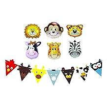 Globos de Cumpleaños, Detalles de Fiesta y Decoraciones para Fiestas de Cumpleaños Infantiles – Globo de Animales de Granja y Guirnalda – Suministros de Fiestas de Cumpleaños, Jungla, Safari y Zoo