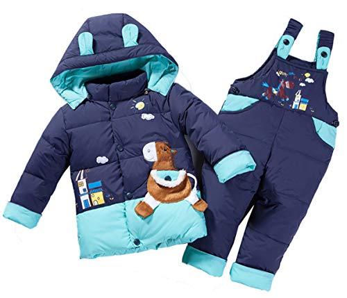HAOKTY 2tlg Kinder Daunenjacke Cartoon Verdickte Schneeanzug mit Kaputze Winterjacke Mantel + Daunenhose St (Dunkelblau, Etikett 80(Korpergroße:75-85))