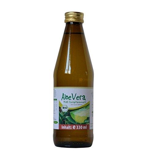 BIO Aloe Vera Premium Direktsaft von BIOMOND 99,8 % / 2 Flaschen mit je 330 ml (660 ml) / Vorteilspack / ohne Zusatzstoffe / purer Pflanzenfrischsaft / Glasflasche -