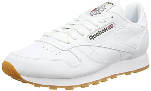 Reebok Classic Leather, Sneakers Basses Homme - Blanc (White/Gum) - 43 EU (Taille Fabricant : 9 UK)