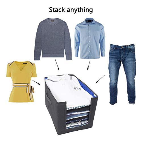 PrettyKrafts Shirt Stacker Closet Organizer (Blue) - Set of 3