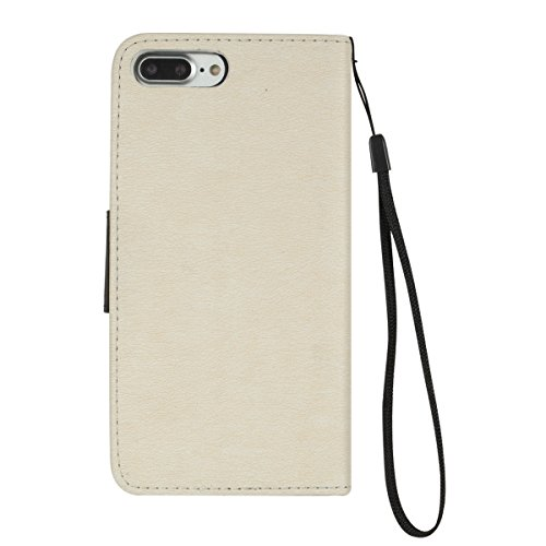 iPhone 7 Plus Custodia,SainCat Custodia in Pelle Cover per iPhone 7 Plus,Anti-Scratch Protettiva Caso Elegante Creativa Dipinto Pattern Design PU Leather Flip Portafoglio Custodia Libro Protettiva Cus Bianco + Nero