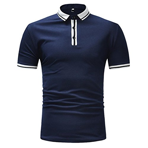 Slim Fit Hemd Herren Kurzarm-Polo-Bluse Gestreifte Mode Tee Business Top GreatestPAK,Marine,M (Gestreifte Hund Polo)