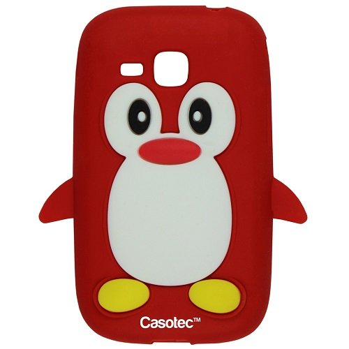 Casotec Penguin Silicone Jelly Back Case Cover for Samsung Champ Deluxe Duos C3312 - Red  available at amazon for Rs.125