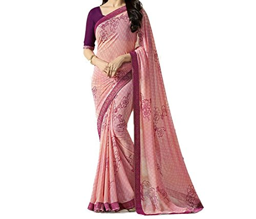 TAGLINE Faux Georgette Saree With Blouse Piece(Tag12008_Purple Free Size)