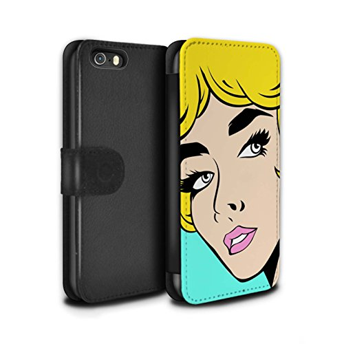 Stuff4 Coque/Etui/Housse Cuir PU Case/Cover pour Apple iPhone SE / Cheveux Roux Design / BD Illustrés Filles Collection Cheveux Blond