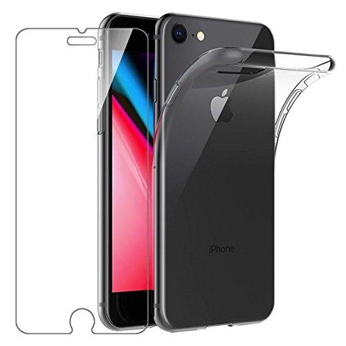 Cover iphone 7 / iphone 8 custodia + pellicola protettiva in vetro temperato , leathlux morbido trasparente silicone custodie protettivo tpu gel sottile cover per apple iphone 8 / iphone 7 4.7