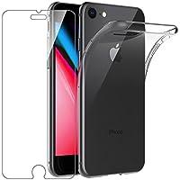 """Cover iPhone 7 / iPhone 8 Custodia + Pellicola Protettiva in Vetro Temperato , Leathlux Morbido Trasparente Silicone Custodie Protettivo TPU Gel Sottile Cover per Apple iphone 8 / iPhone 7 4.7"""""""
