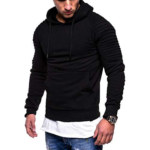URSING Herren Pullover Herren Herbst Winter Langarm Patchwork Kapuzen Sweatshirt Outwear Tops mit...