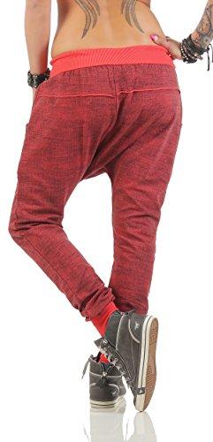 Moda Italy trendy Damen Sweatpants Baggy Boyfriend Freizeithose Jogginghose Baumwolle Sporthose Loose fit Lachs